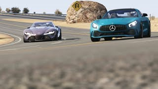 Download Mercedes-Benz AMG GTR '17 vs Toyota FT-1 at Black Cat Country Video