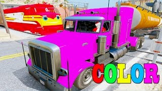 Download Learn Colors Tanker Truck & Mcqueen Truck In Trouble W Train Trev Diesel By Superheroes Songs Video