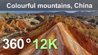 Download China, Colourful mountains of the Zhangye Danxia Geopark, 12K aerial 360 video Video