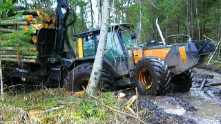 Download Valtra forestry tractor with big trailer in wet forest Video