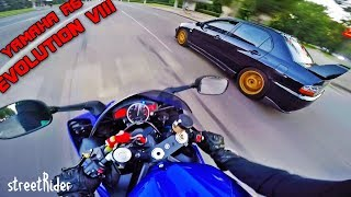 Download ДВА ПРИДУРКА ГОНЯЮТ В ЦЕНТРЕ ГОРОДА    Mitsubishi EVO 8 vs Yamaha R6 Video