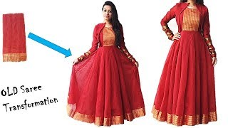 Download Diwali Special: Convert Your Old Saree in to Designer Festive Wear Long Anarkali Dress Video