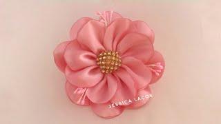 Download DIY PAP Flor de cetim facil/satin flower/Easy satin flower Video