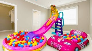 Download Sasha and papa pretend play with Waterslide Video