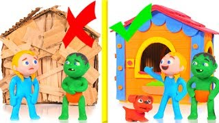 Download KIDS BUILDING A CARDBOARD HOUSE VS STRONG BRICKS HOUSE ❤ SUPERHERO PLAY DOH CARTOONS FOR KIDS Video