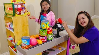 Download Emma Pretend Play Shopping with Giant Grocery Store Super Market Toy Video