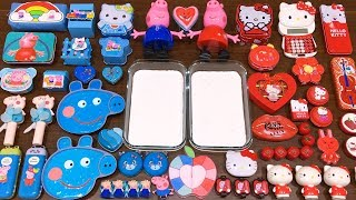 Download Special Series #8 RED vs BLUE PEPPA PIG and HELLO KITTY | Mixing Random Things into GLOSSY Slime Video