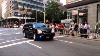 Download U.S. PRESIDENT BARACK OBAMA & MOTORCADE ON THE UPPER WEST SIDE OF MANHATTAN IN NEW YORK CITY Video