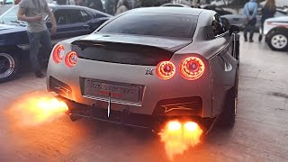 Download Widebody Nissan GT-R Launch Control FLAMES sets off Car Alarm! Video