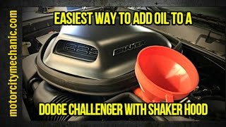 Download Easiest way to add oil to a Dodge Challenger with Shaker hood Video