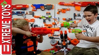 Download Full Nerf Gun Toy Arsenal Attack! Ethan with the Nerf Mastondon Vs. Cole with the Nerf Rhino Fire Video