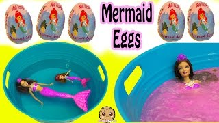 Download Bath Bomb Fizzy Mermaid Surprise Eggs In Water with Barbie Dolls In Mini Pool Video