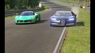 Download Ferrari LaFerrari vs Bugatti Chiron at Nordschleife Video