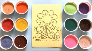 Download Đồ chơi trẻ em TÔ MÀU TRANH CÁT 3 BÔNG HOA XINH - Colored Sand Painting Toys (Chim Xinh) Video