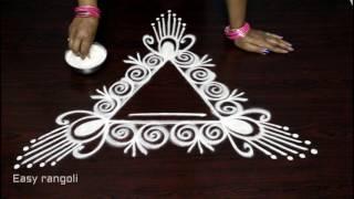 Download creative easy rangoli designs with side borders    simple freehand kolam designs    muggulu designs Video