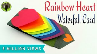Download Rainbow Heart | Love waterfall card for Valentine's Day - DIY Tutorial by Paper Folds #605 Video