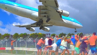 Download St. Maarten - famous KLM B747 low landing and amazing Jet Blast take-off - from differrent spots Video