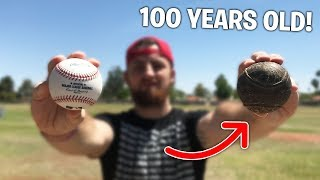 Download 100 Year Old Baseball vs. 2018 MLB Baseball! IRL Baseball Challenge Video