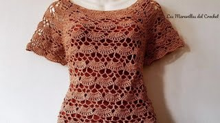 Download Blusa a Crochet Canesu Rectangular de abanicos Video
