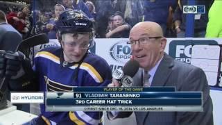 Download Tarasenko records hat trick, scores game-winner, thanks Blues fans Video