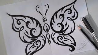 Download Como desenhar BORBOLETA TRIBAL estilo TATTOO Video