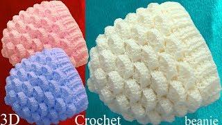 Download Gorro a Crochet punto marshmallow malvaviscos 3D tejido tallermanualperu Video