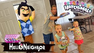 Download Hello Neighbor in Real Life Statues! Hatchimals CollEGGtibles Toy Scavenger Hunt!!! Video