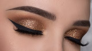 Download EASY Copper Glitter Smokey Eye Makeup Tutorial Video