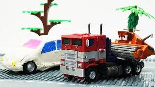 Download Transformers stop motion - Optimus Prime, Bumblebee & Disney Car Frank 💖 Play Doh Cartoons For Kids Video
