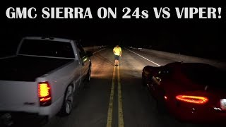 Download 05 6.2 GMC Sierra w/srpay on 24s vs SRT Viper,CTSV and Built 04 R32 Video