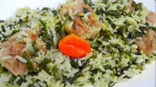 Download Spinach Rice Simmered In Coconut Milk And Salted Pigtail. Video