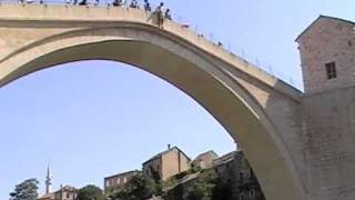Download Aussie jumping from Mostar's old bridge Video
