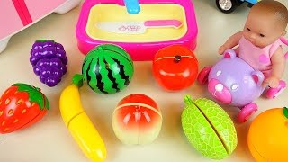 Download Fruit vegetable cutting play with Baby Doll and surprise eggs and car toys Video