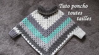 Download TUTO PONCHO GRANNY CROCHET TOUTES TAILLES Easy granny poncho TUTORIAL PONCHO GRANNY DE GANCHILLO Video