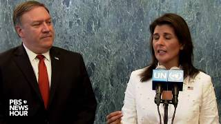 Download WATCH: Pompeo, Haley to make remarks from UN, after meeting with South Korea's foreign minister Video