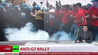 Download Violent clashes erupt at G7 protest in Italy as summit ends Video