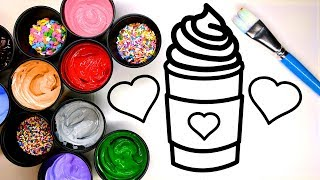 Download Coloring a Latte and Cupcake with Sprinkles and Painting it, Children learn to color with Paint Video