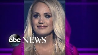 Download Carrie Underwood returns to the stage for 1st public appearance since accident Video