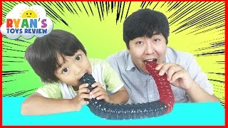 Download WORLD'S LARGEST GUMMY WORM CHALLENGE Ryan ToysReview Video