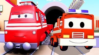 Download Troy the Train and the Fire Truck in Car City | Trains & Trucks cartoons for kids Video