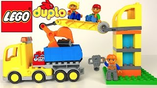 Download LEGO DUPLO BIG CONSTRUCTION SITE & MIGHTY MACHINES BULLDOZER DUMP TRUCK CRANE WITH HOOK-STOP MOTION Video