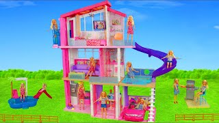 Download Barbie Dolls Unboxing: Dreamhouse Dollhouse w/ Bedroom, Doll Shower & Toy Vehicles for Kids Video