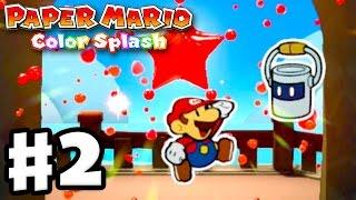 Download Paper Mario: Color Splash - Gameplay Walkthrough Part 2 - First Mini Paint Star! (Nintendo Wii U) Video
