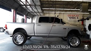 Download From 37s to 35s on 24x14! Dodge Ram 2500 Cummins on 24x14 Fuel Forged Wheels! Video