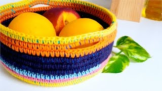 Download How to crochet a BASKET (with t-shirt yarn & wool) ♥ CROCHET LOVERS Video
