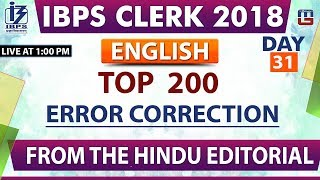 Download Top 200 | Error Correction | IBPS Clerk 2018 | English | Day 31 | 1:00 pm Video