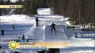 Download Nervöst när TV4:s reporter ska hoppa med skidor - Nyhetsmorgon (TV4) Video