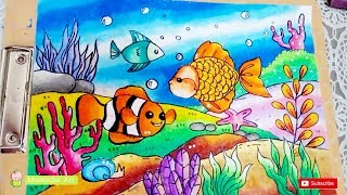 Download Cara Gradasi Warna dengan Crayon Oil Pastel | Menggambar Pemandangan Laut (DRAWING BOTTOM OF SEA) Video