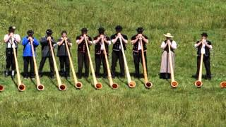 Download 22 Alphorns Play in Switzerland Video