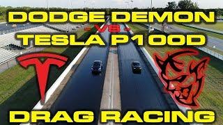 Download 840HP Dodge Demon with Race ECU vs Tesla Model S P100D 1/4 Mile Drag Racing Video
